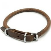"Ancol Round Sewn Leather Dog Collar 24"" Brown"