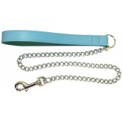 "Leather Handle Chain Lead 3/4"" x 23"" (Heavy), 6 Colours Available"