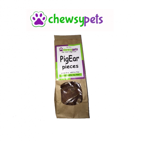 CHEWSY PETS Pigs Ear Pieces Natural Dog Treats 100g