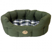 40 Winks Country Green/Check Dog Bed Oval Sleepers