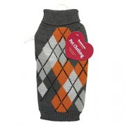 Orange and Grey Diamond Knitted Dog Jumper