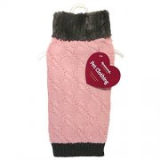 Pink Knit Dog Jumper with Fur Collar