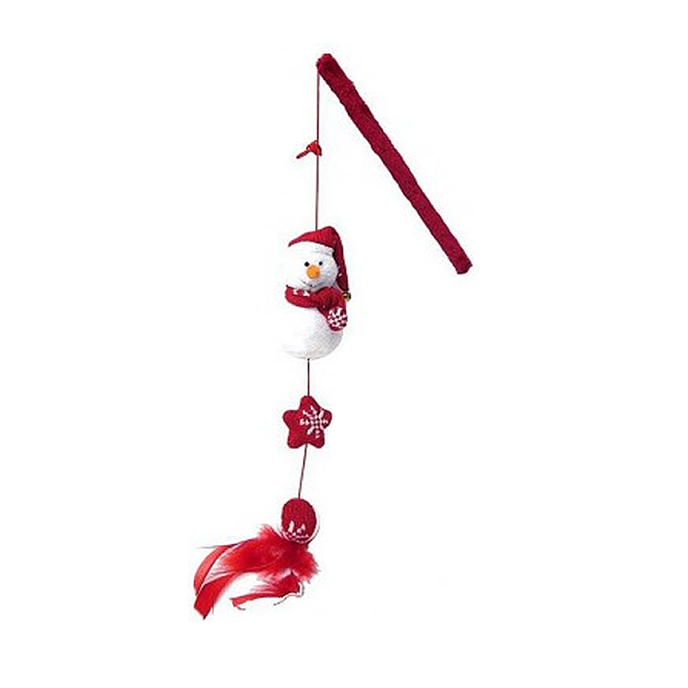 Rosewood Jolly Moggy Winter Snowman Teaser Cat Toy